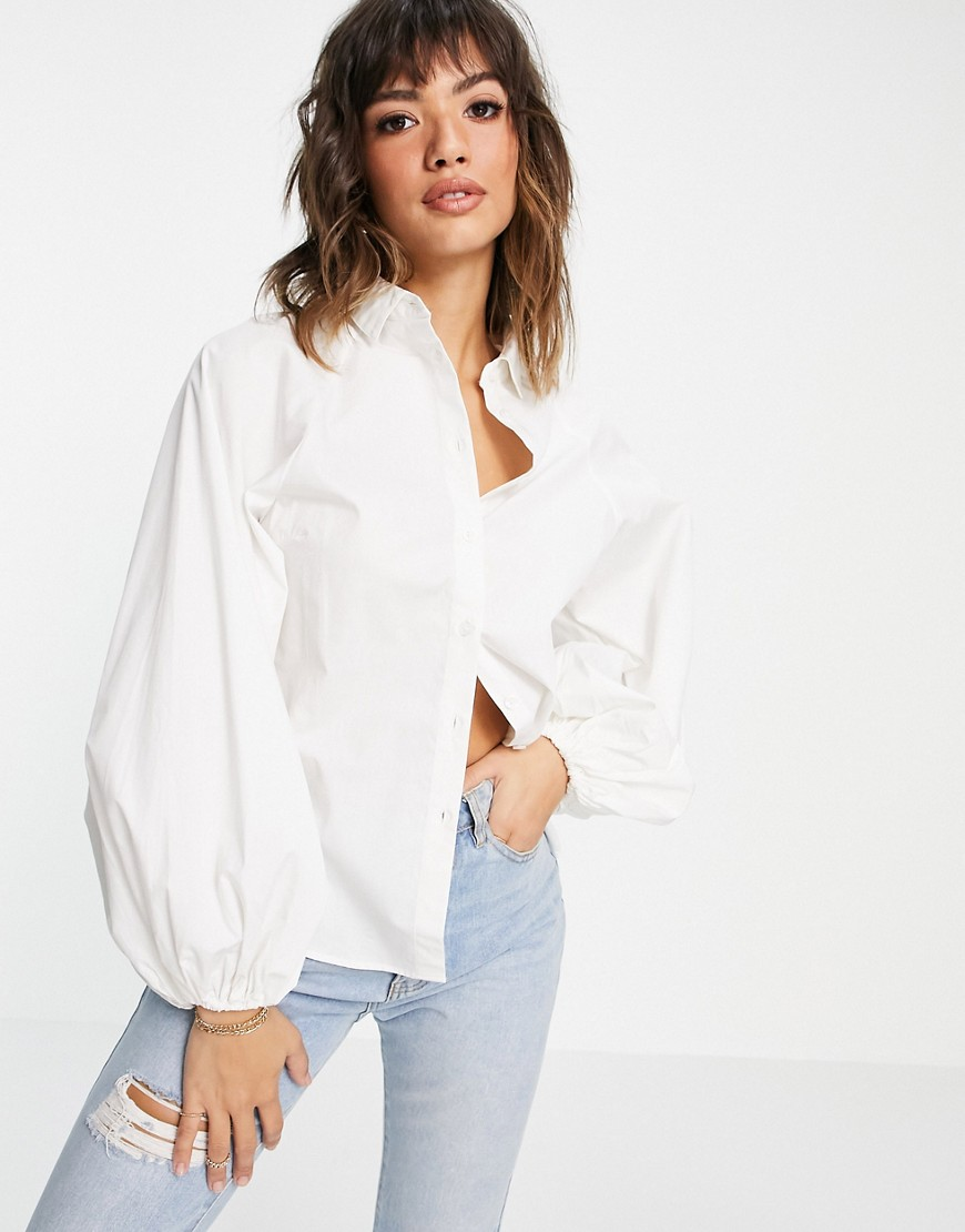 ASOS DESIGN long volume sleeve shirt in cotton white