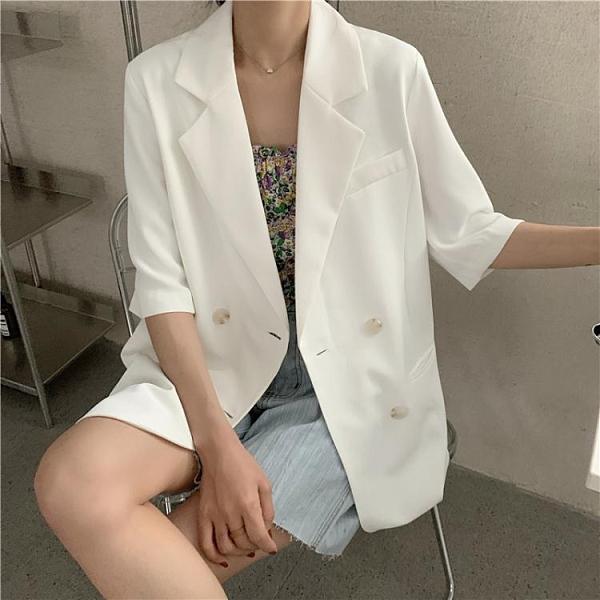 短袖西裝外套 白色小西裝外套女設計感小眾夏季薄款半袖上衣網紅炸街短袖小西服 童趣屋