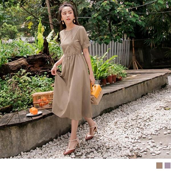 《DA8476-》浪漫柔美氣質典雅蕾絲純色洋裝 OB嚴選