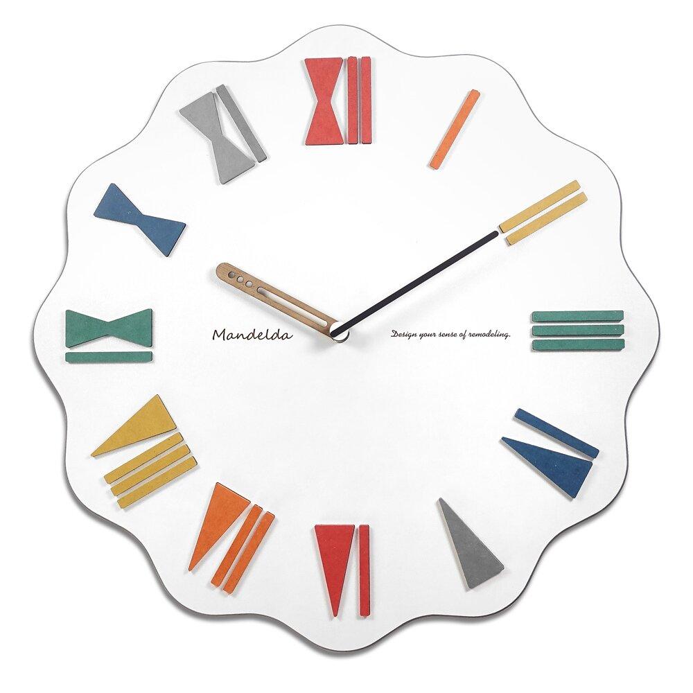 15吋 居家擺飾 可愛 繽紛 羅馬刻度 餐廳客廳臥室 靜音 波浪造型掛鐘-白色
