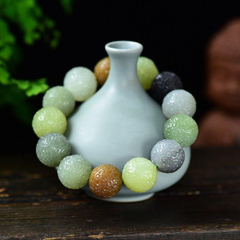 收藏級天然和田玉多寶17MM雕花手鏈 玉質細膩成色好 上手大氣