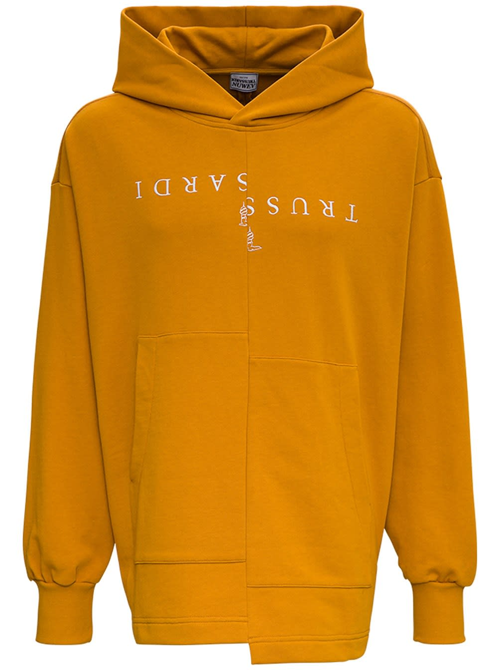 Trussardi Flared Jersey Hoodie With Front Logo Print