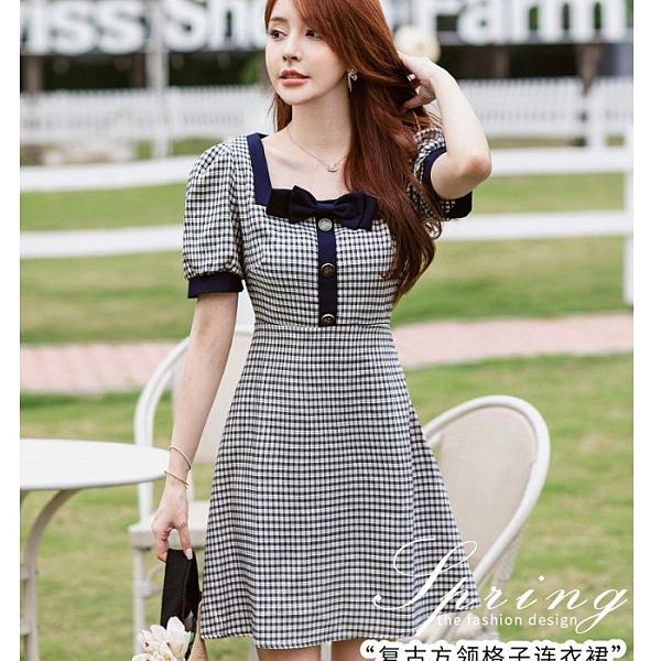 韓式高腰方領蝴蝶結格紋青春洋裝[99186-QF]美之札