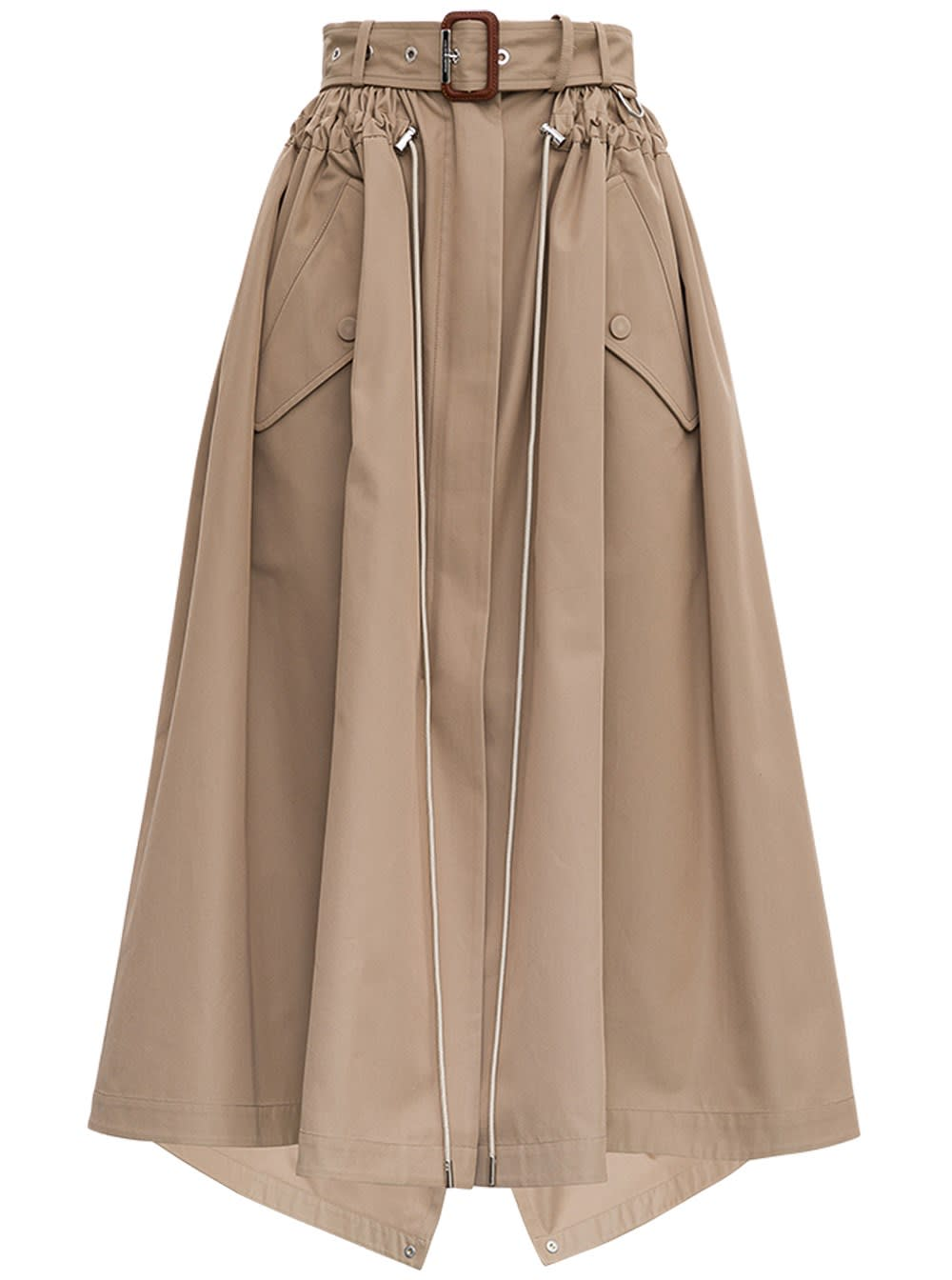 Alexander McQueen Beige Cotton Skirt With Belt