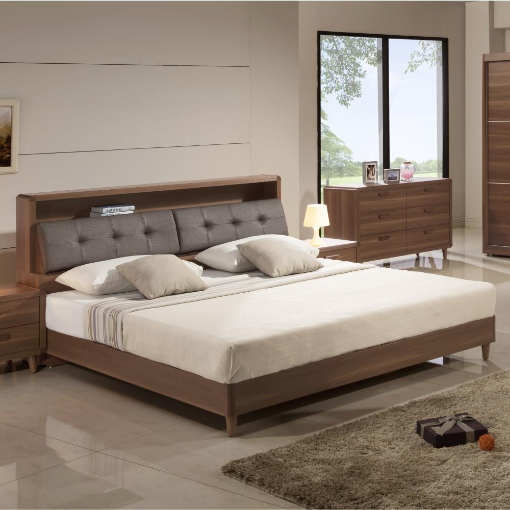 床頭箱 床底 5尺 6尺 搭配木紋北歐床頭 淺胡桃色 實木木腳 YD米恩居家生活