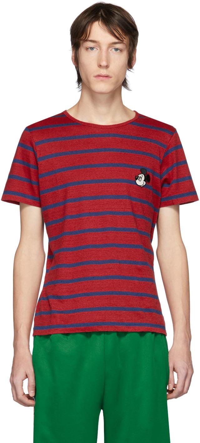 Gucci 红色 & 海军蓝 Disney 联名条纹 T 恤
