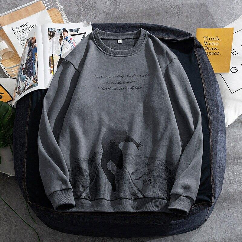2021春秋季新品圓領衛衣韓版潮流時尚衛衣男裝寬鬆休閒印花打底衫