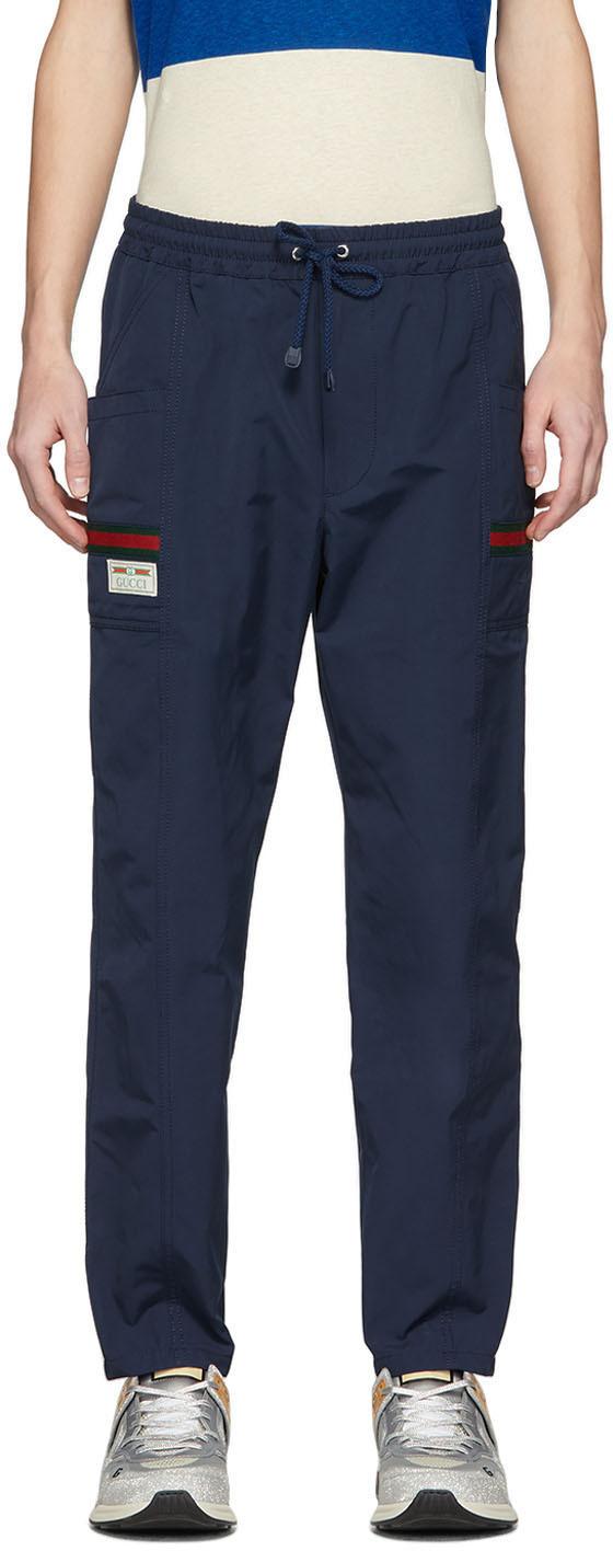 Gucci 海军蓝饰边运动裤