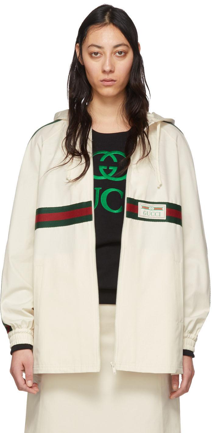 Gucci 灰白色 Web 拉链夹克