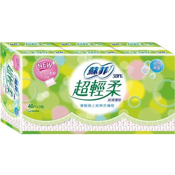 蘇菲超輕柔護墊-天然無香14cm X40片X3包【愛買】