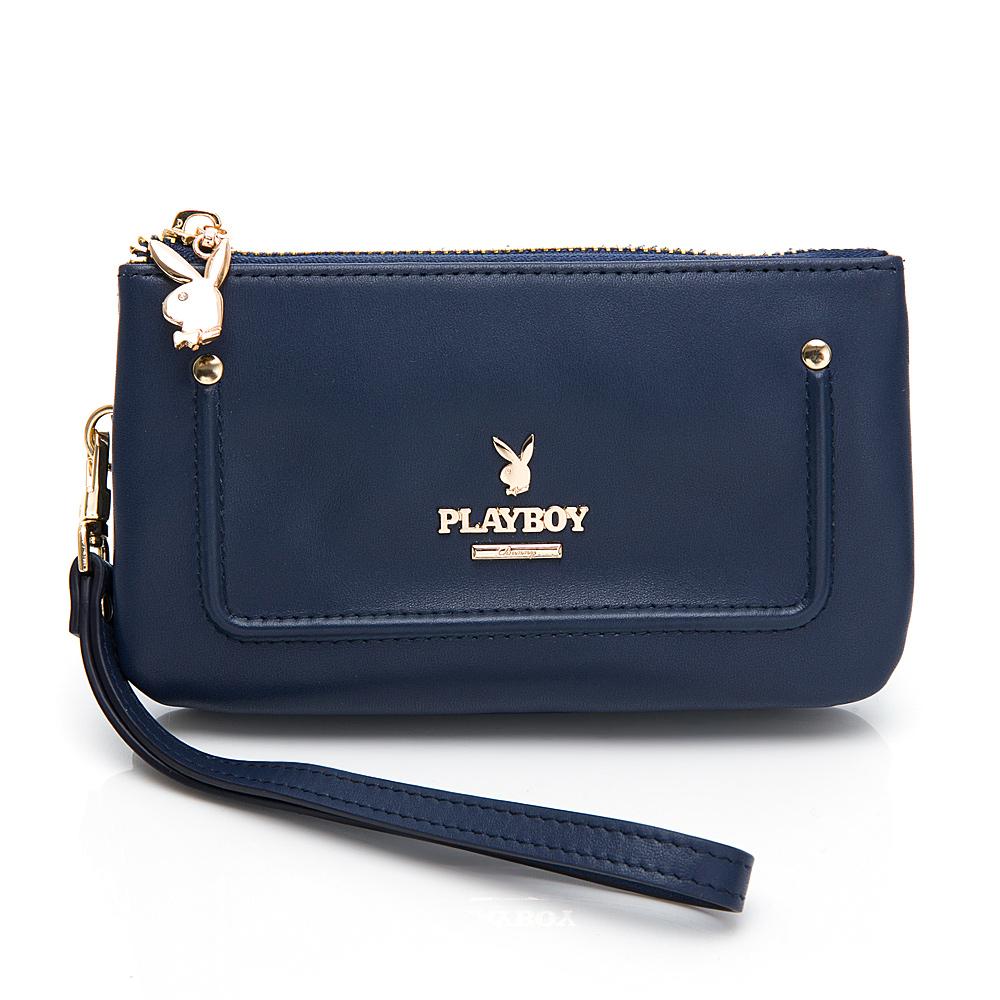 PLAYBOY-零錢包附手挽帶 Elegant系列 -藍色(501-6504-56-1)