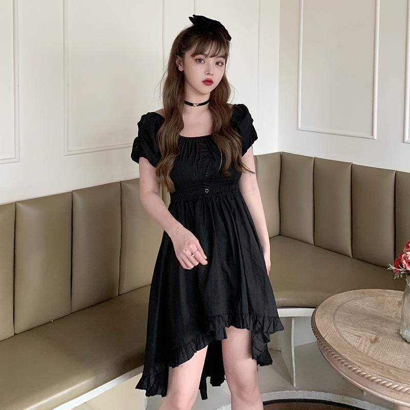 M-4XL大尺碼衣著 赫本風連衣裙 短袖洋裝女2021新款裙子法式設計感復古方領小黑裙減齡