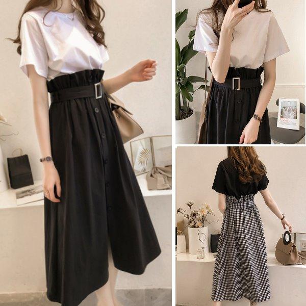M-4XL韓版蘿莉顯瘦減齡兩件式套裝(短袖上衣+花邊鬆緊長裙)中大尺碼-優美依戀
