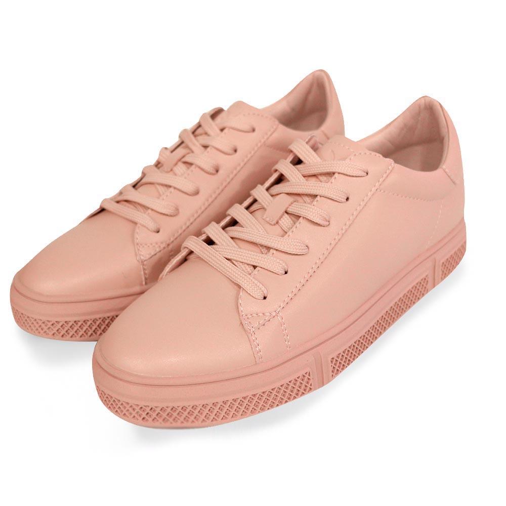 PLAYBOY 純色經典 簡約綁帶休閒鞋-粉(Y5316)