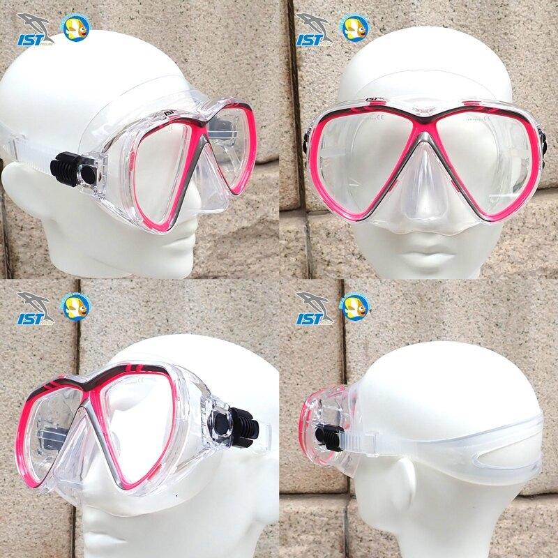 [台灣製 IST ] 成人 浮潛三寶  CF02 桃紅 面鏡+呼吸管+蛙鞋  附收納網袋 ;蝴蝶魚戶外