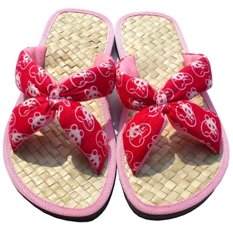 熊貓森林手工草編拖鞋-粉紅色套式