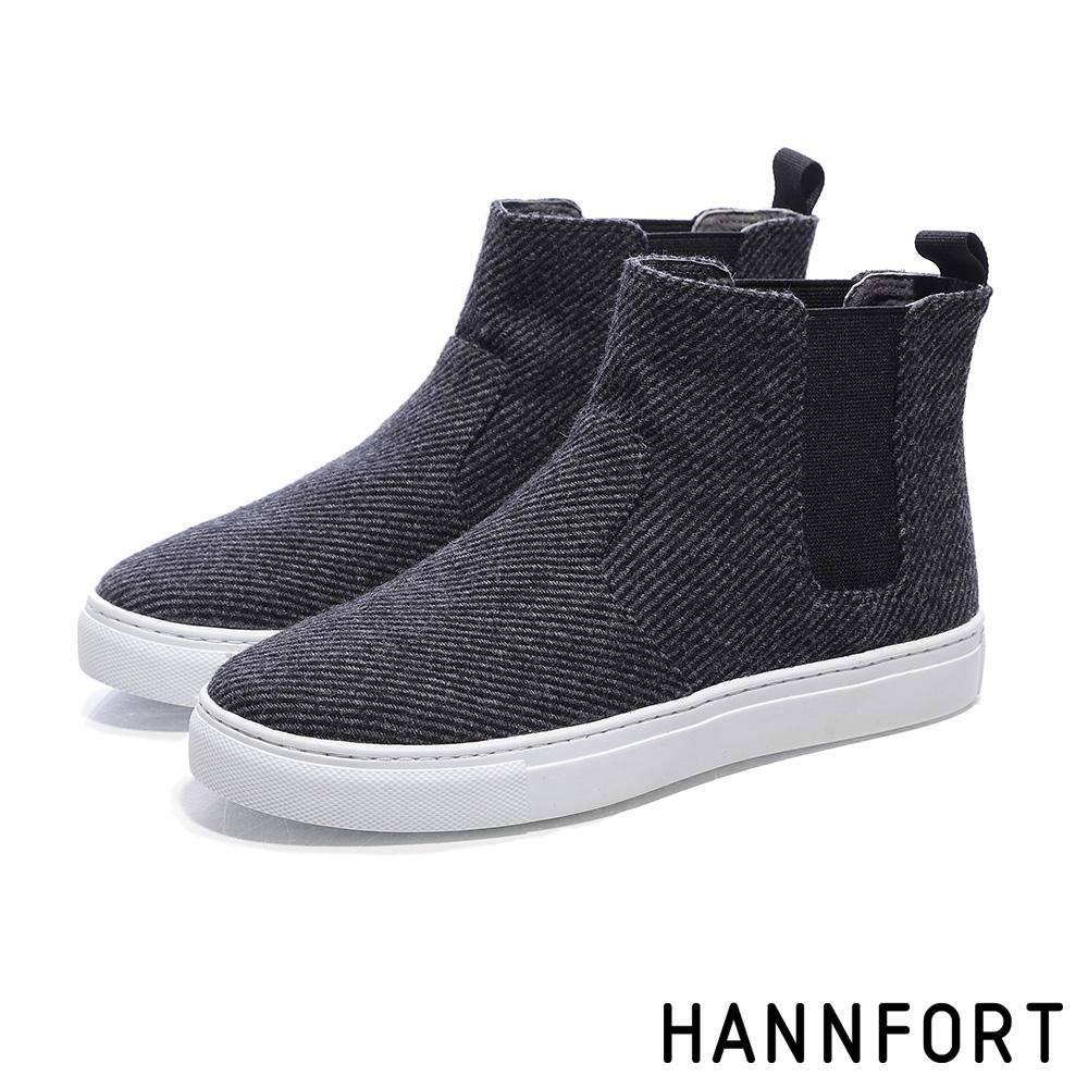 HANNFORT CAMPUS毛呢卻爾西短靴-女-莫蘭迪灰