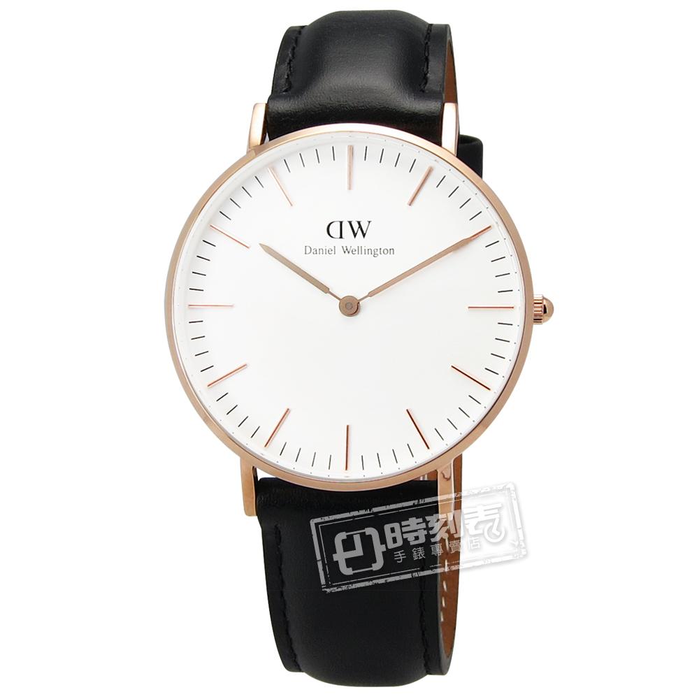 DW Daniel Wellington / DW00100036 / Classic Sheffield Lady雋永之美真皮手錶 白x玫瑰金框x黑 36mm
