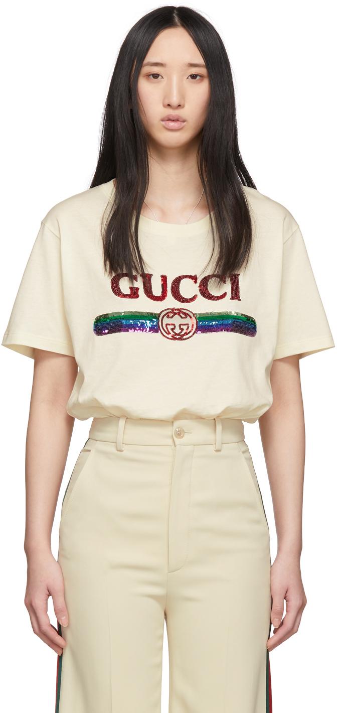 Gucci 驼色亮片复古徽标 T 恤