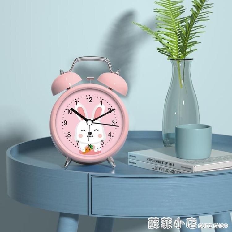 聲音超大鬧鈴小鬧鐘學生用可充電床頭鐘卡通兒童專用靜音時鐘錶型