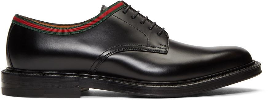 Gucci 黑色皮革德比鞋
