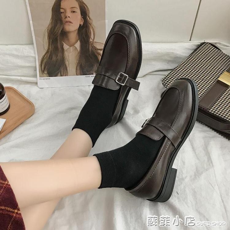上班鞋女不累腳軟底職業舒適軟皮英倫小皮鞋久站黑色平底方頭單鞋