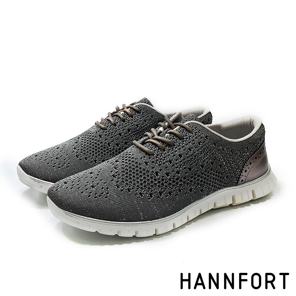 HANNFORT 輕盈飛織雕花牛津氣墊鞋-女-深灰