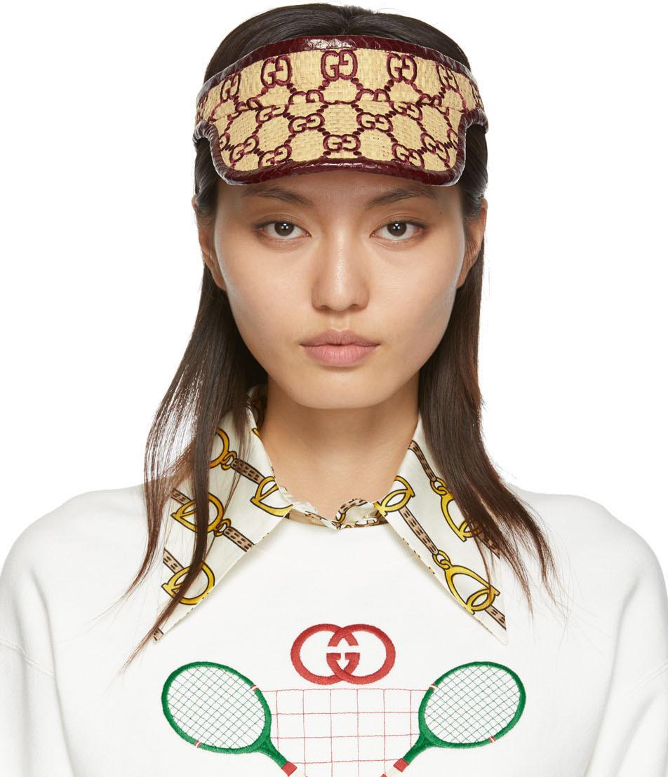 Gucci 酒红色 GG 蛇皮遮阳帽