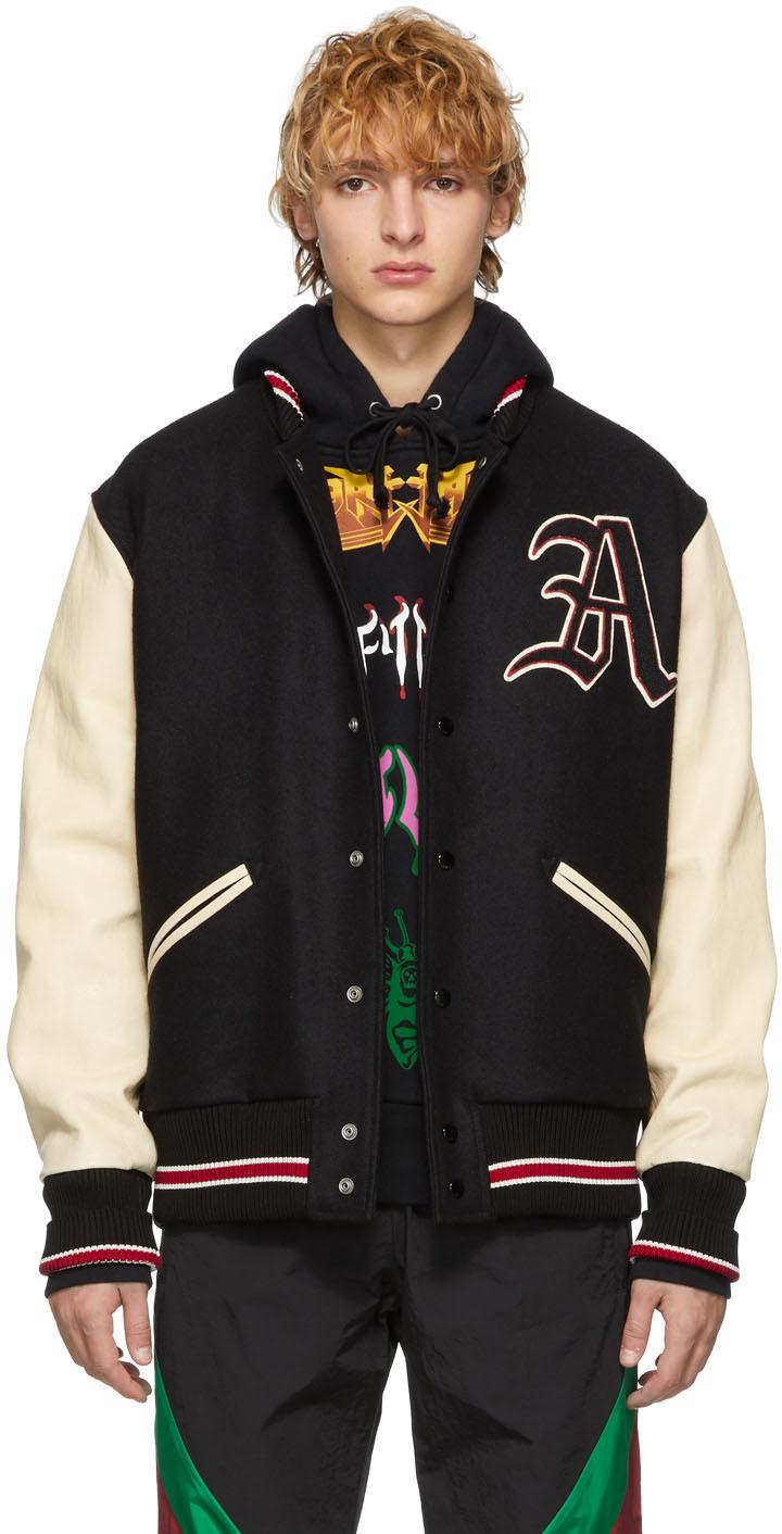 Gucci 黑色 & 白色拼贴棒球夹克