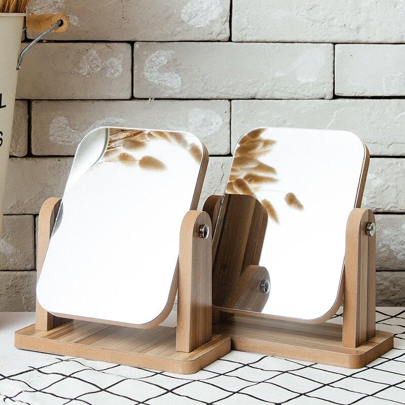 新品木質臺式化妝鏡子高清單面梳妝鏡美容鏡學生宿舍桌面鏡大號