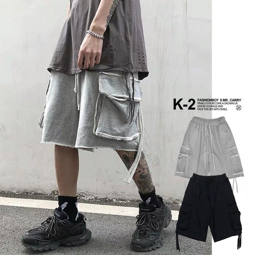 【K-2】闇 不修邊 緞帶 五分褲 特殊布料 棉褲 休閒短褲 造型 口袋短褲 短褲 男女不拘 滑板 街頭 口袋【KKI】