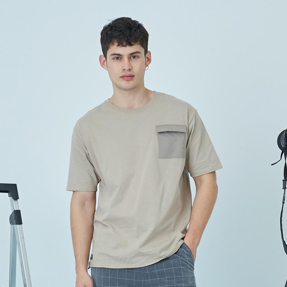 CACO-異材質口袋落肩T(二色)-男【B1AR065】