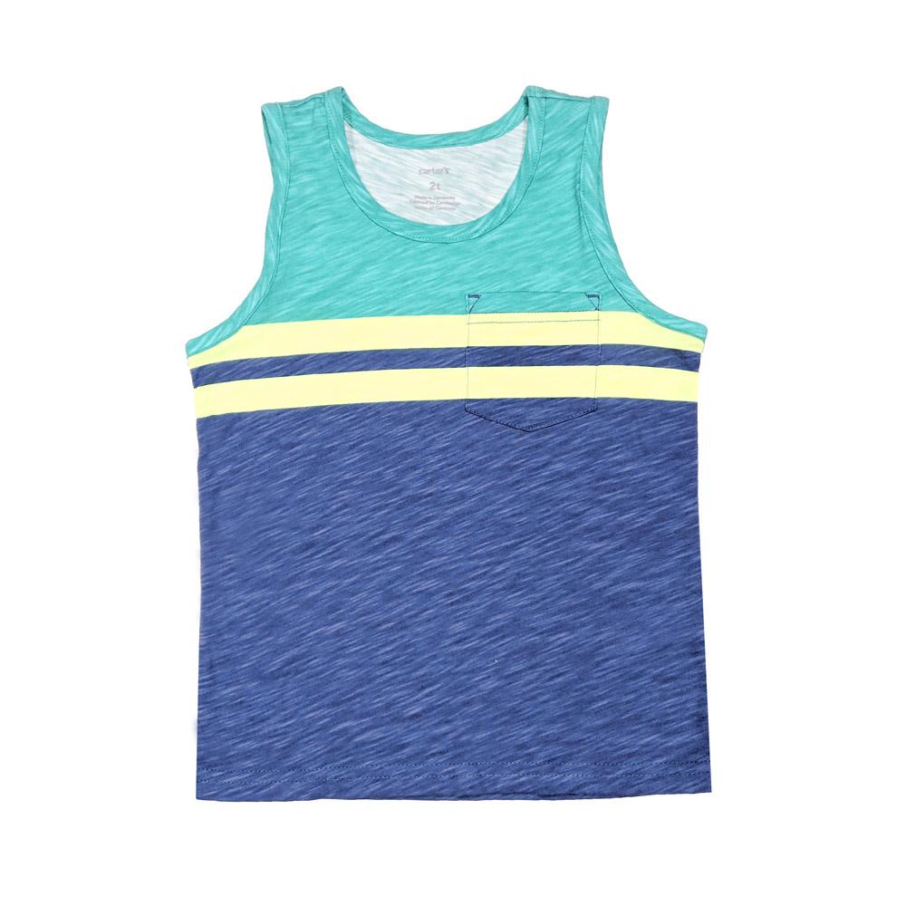 無袖背心上衣 藍綠拼接 男童   Carter's 卡特【CA243H011】BB0603