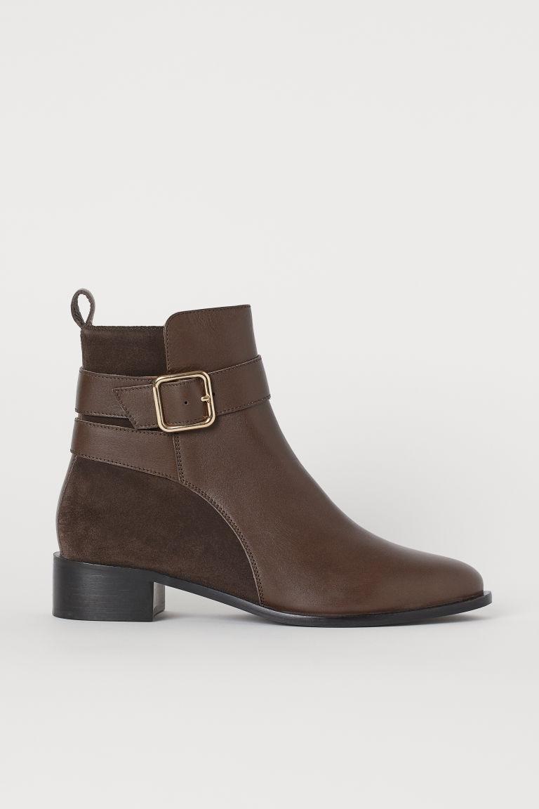 H & M - 真皮踝靴 - 褐色