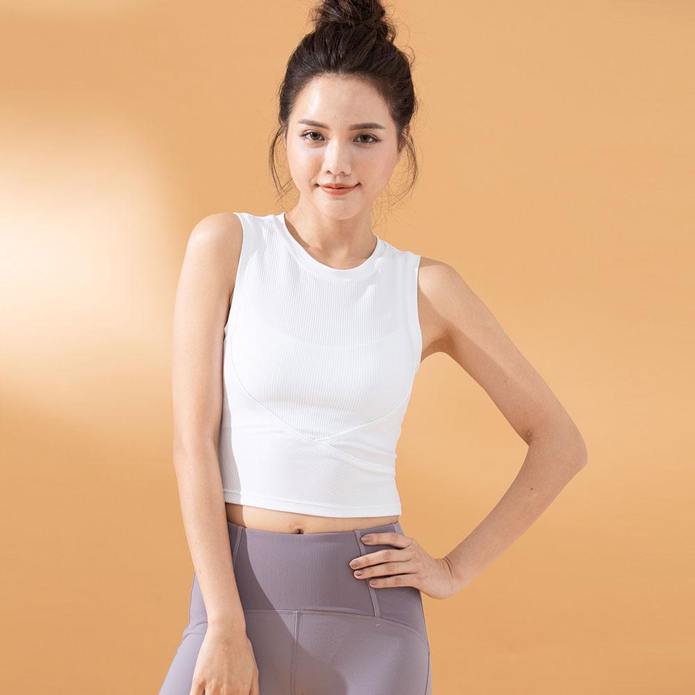 螺紋貼身休閒運動背心-White(不含胸墊)