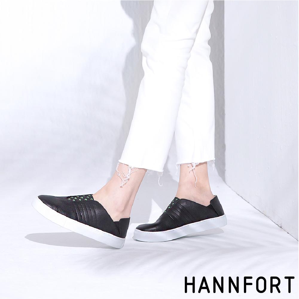 HANNFORT CAMPUS 椰子樹鬆緊後踩休閒鞋-女-質感黑