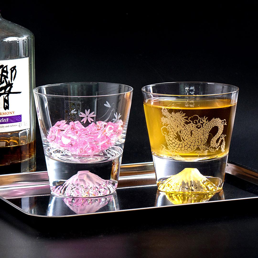 【送 品牌專屬提袋】現貨 田島硝子 櫻花限量款x神龍杯 威士忌杯2入組 對杯 富士山杯 酒杯 隨飲料變色 玻璃杯 最佳禮物 伴手禮推薦 TG16-015-RS+TG19-001-RYU 熱賣中!