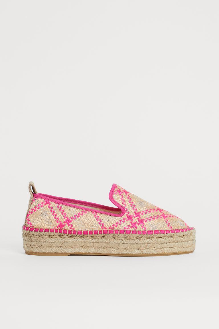 H & M - 厚底草編鞋 - 粉紅色