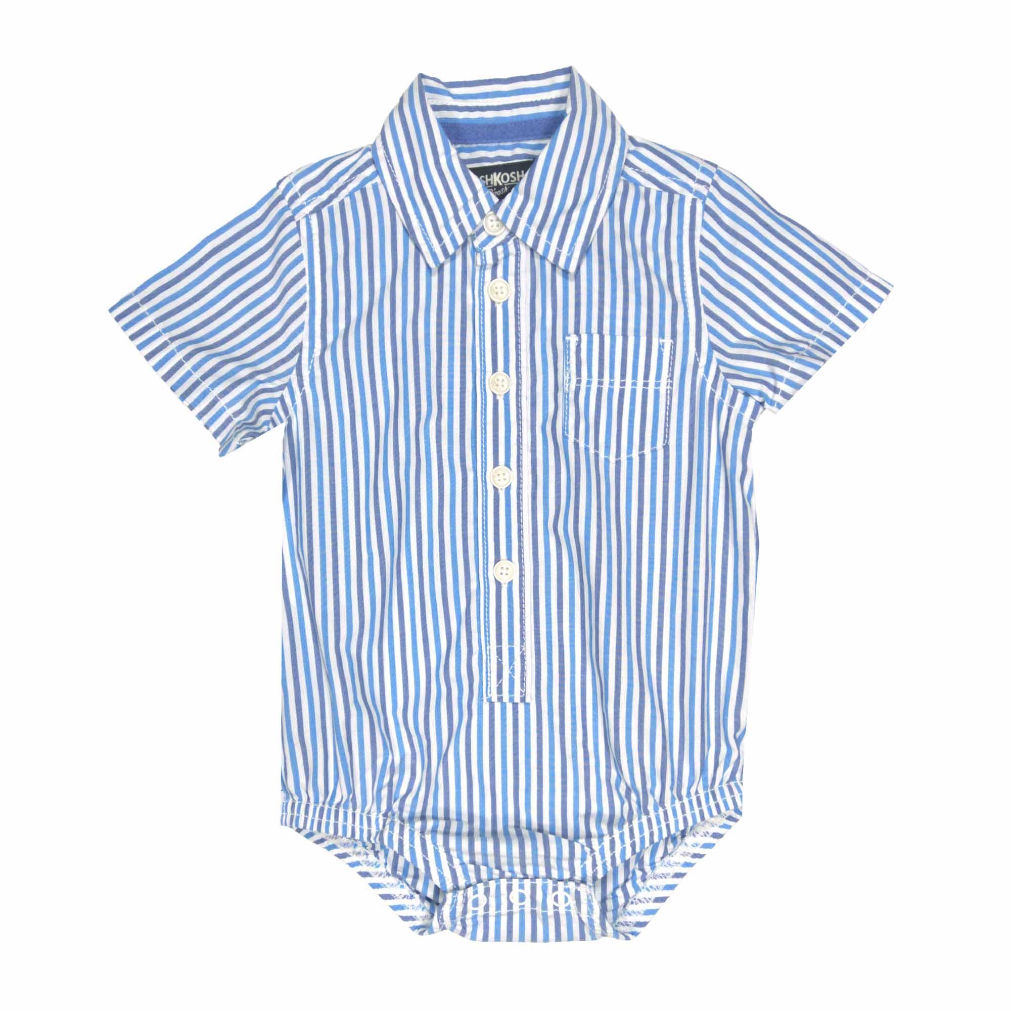 襯杉紳士西裝短袖包屁衣 藍直條 男寶寶 | OSHKOSH【OS13475118】AA0204