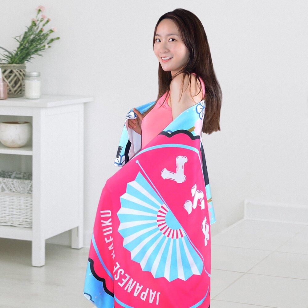 【TELITA】超細纖維日系和風海灘巾 浴巾 萬用巾-和服娃娃