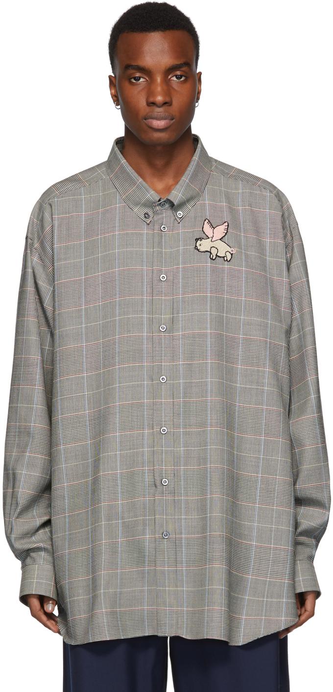Gucci 灰色 Flying Pig 方格纹衬衫