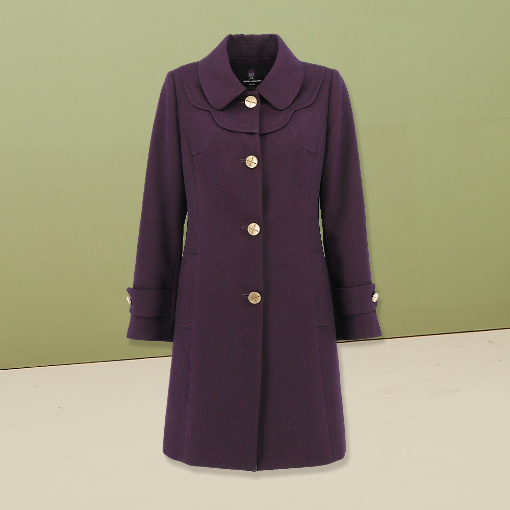 ILEY伊蕾 復古斜紋布修身大衣(紫)956454