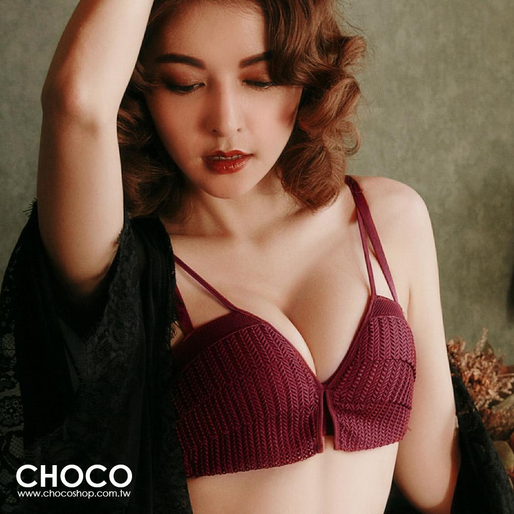 經典庫肯霍夫.浪漫無鋼圈集中爆乳內衣(酒紅色) 70B~85C Choco Shop
