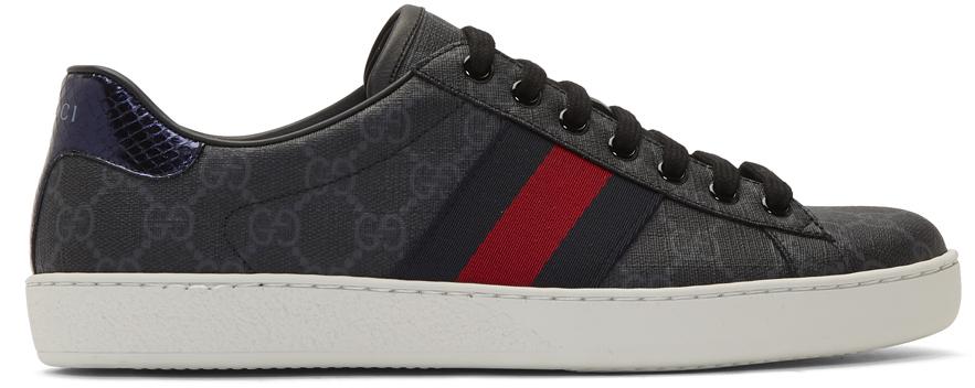 Gucci 黑色 GG Supreme Ace 运动鞋