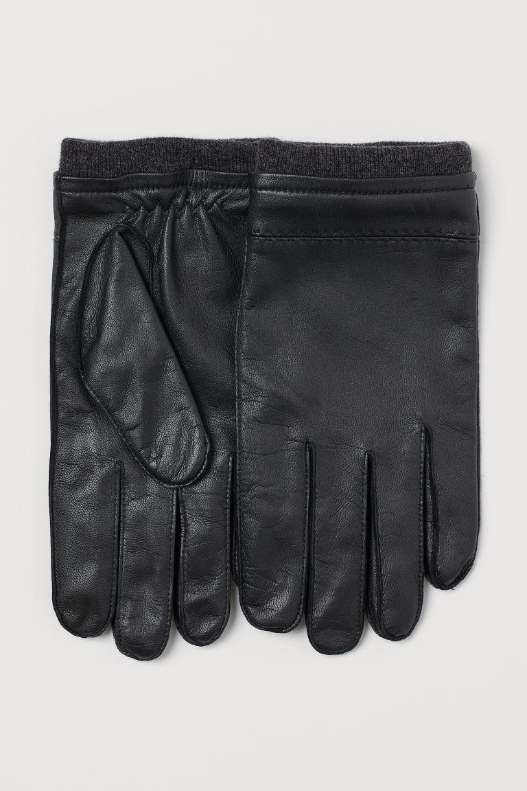 H & M - 真皮手套 - 黑色