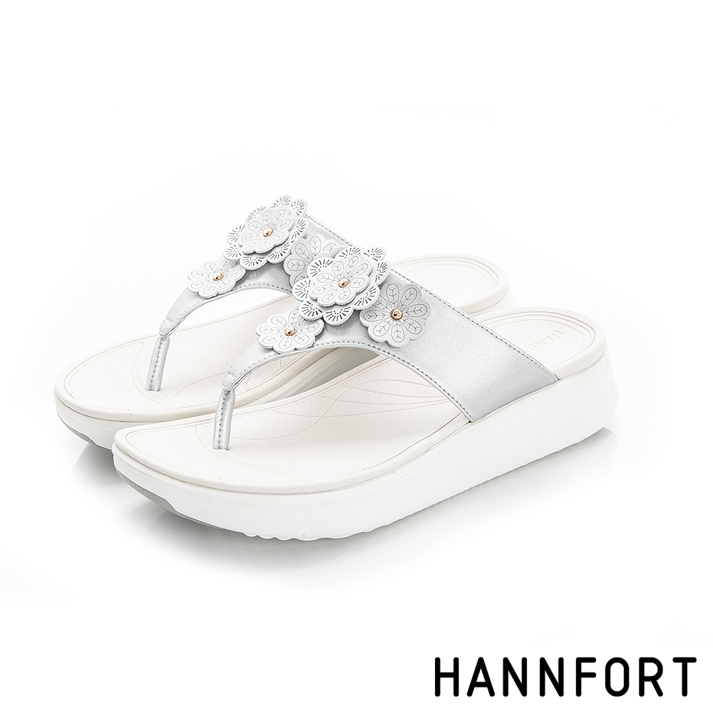 HANNFORT Ultra Comf 4D茶香玫瑰雕花T字涼鞋-女-銀色