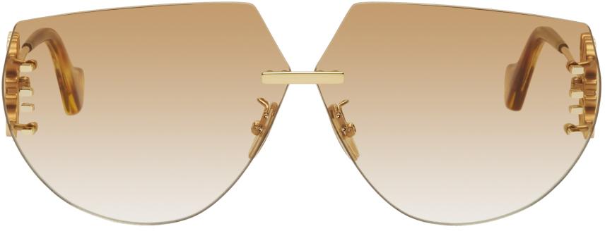 Loewe 金色 Anagram Mask 太阳镜