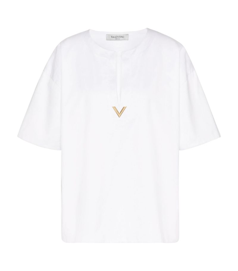 Valentino Open-Neck Top