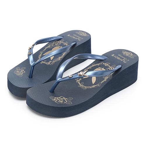 PLAYBOY 復古個性 厚底人字夾腳拖鞋-藍(YT608)