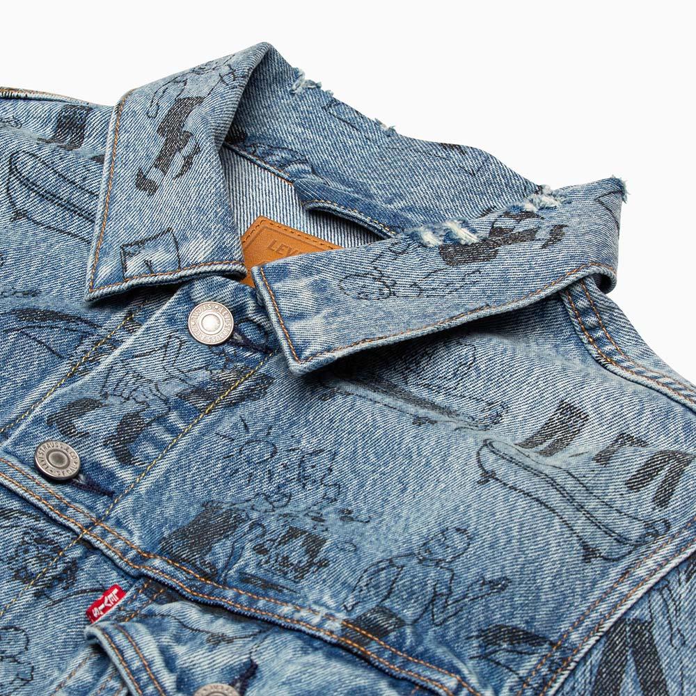 Levis 男女同款 古著牛仔外套 / 寬鬆休閒版型 / 501day洗鍊印記系列 / 滿版養褲教學漫畫-熱銷單品